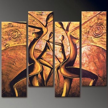 African Woman Sexy Woman Walls Paper Dancing Girls 4 Panel Oil