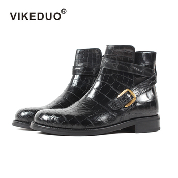 VIKEDUO Hand Made Low Heel Strap Horse Riding Jodhpur Boot Shoes Leather Guangzhou Crocodile Goodyear Welted Boots