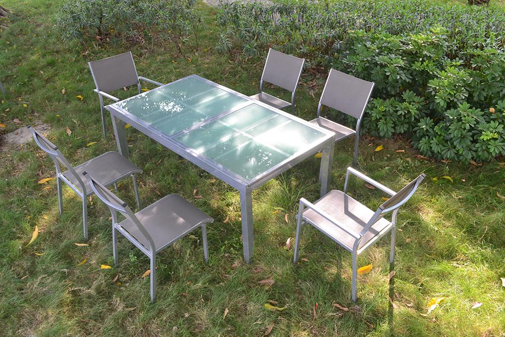 TF-9193 Top Quality Aluminum f<em></em>rame extensible Dining Table & 8 Chair