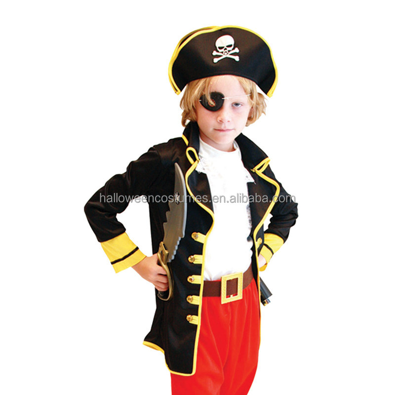Gift Tower Kids Boys Pirate Captain Halloween Costume Royal Buccaneer Dress Up Role Play