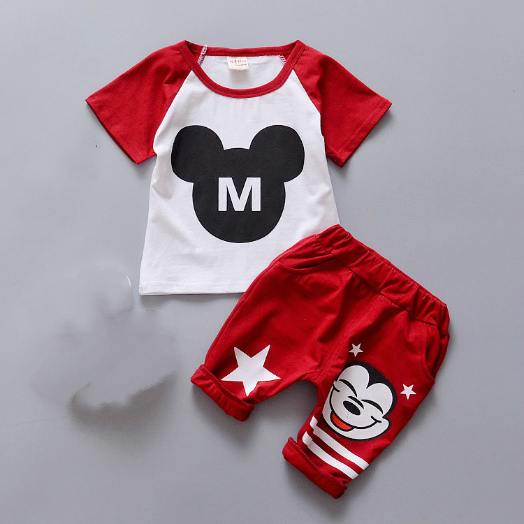 2016 New Mickey Children Clothing Set Baby Girls Boys Clothes Sets Minnie Short Sleeve T shirt