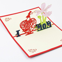 Origami 3D Greeting Card I Love Mom Flower Heart Birthday Mother's Day Gift
