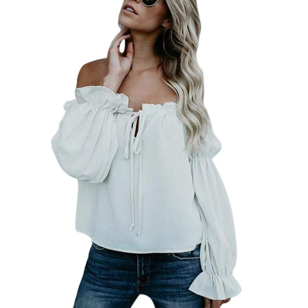 Feitengtd 2018 New Women's Cold Shoulder Blouses Tunic Shirt Long Sleeve Casual Blouses Tops