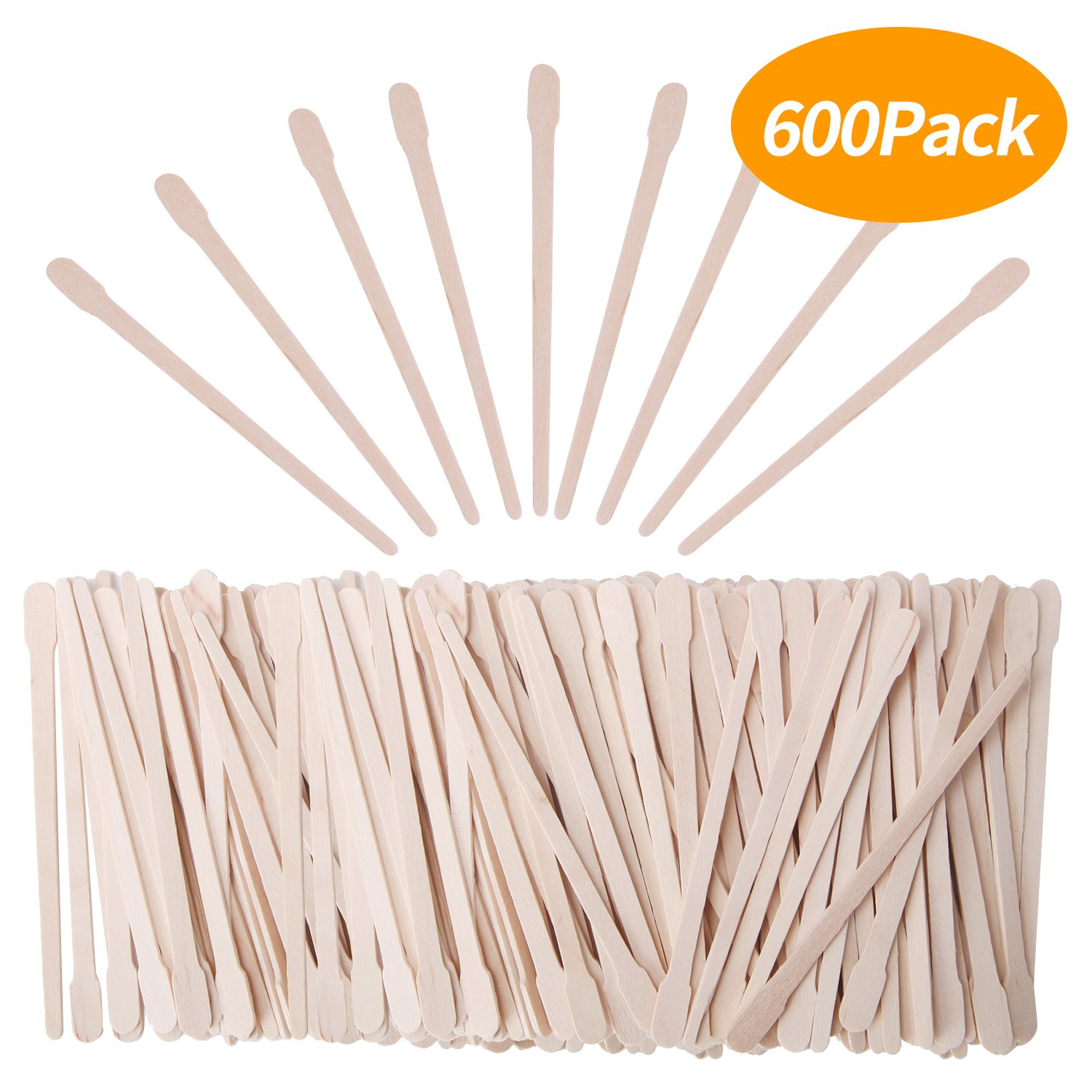 Senkary 600 Pieces Wooden Waxing Sticks Wax Sticks Wax Applicator Sticks Wax Spatulas Wood Craft Sticks Small for Hair Eyebrow Nose Removal (With Handle)