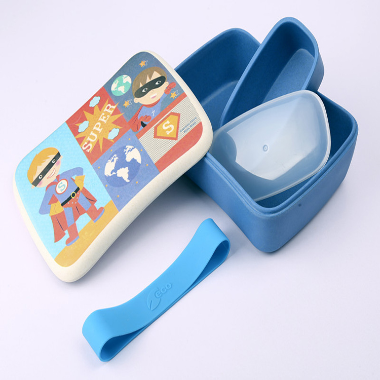 Eco-Friendly Biodegradable Kids Lunch Box Bamboo Fiber Cute Bento Box