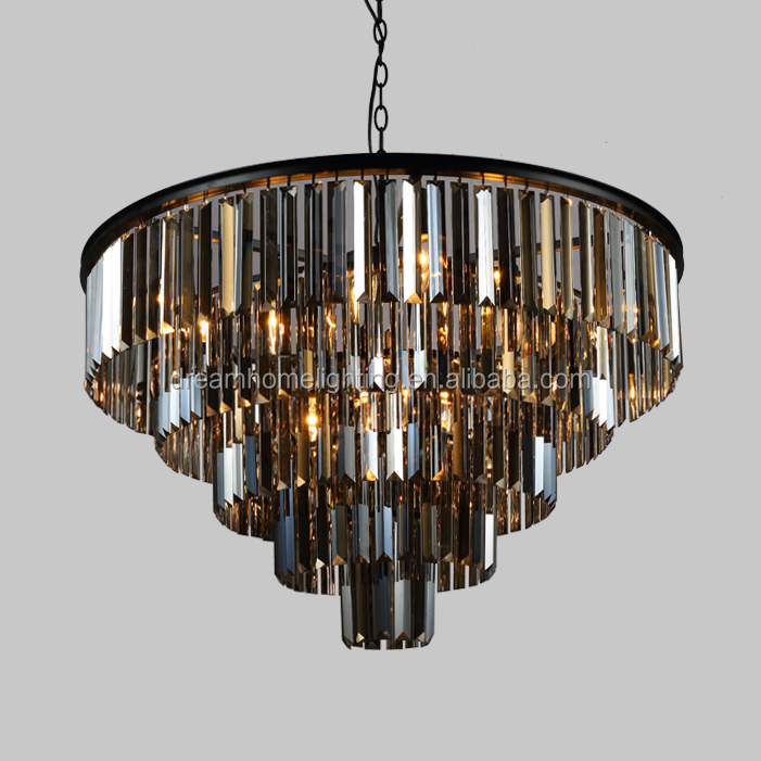 Luxirious smoking K9 crystal chandelier big high pendant lighting