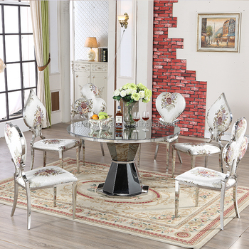 Awesome No Folded Round Dining Table With 6 Chairs In Stainless Steel Metal Buy Round Dining Table With 6 Chair Round Glass Dining Table Luxury Dining Table Gmtry Best Dining Table And Chair Ideas Images Gmtryco