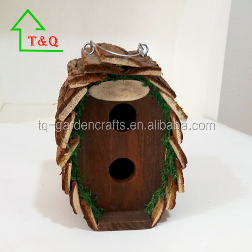 primitives folk art 2 nests bark bird house