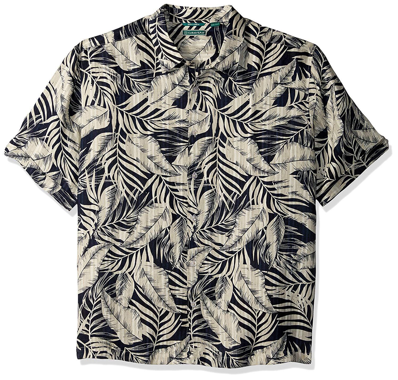 07f8461d Get Quotations · Cubavera Men's Short Sleeve 100% Linen Tropical Print  Button-Down Shirt