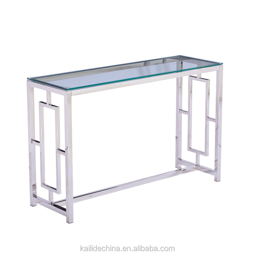 Factory Wholesale Stainless Steel Console Table with Clear Curved Tempered Glass Top
