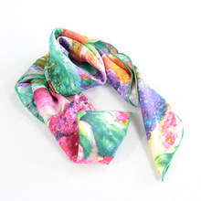 fashionable polyester/silk twill scarves ladies with custom digital print