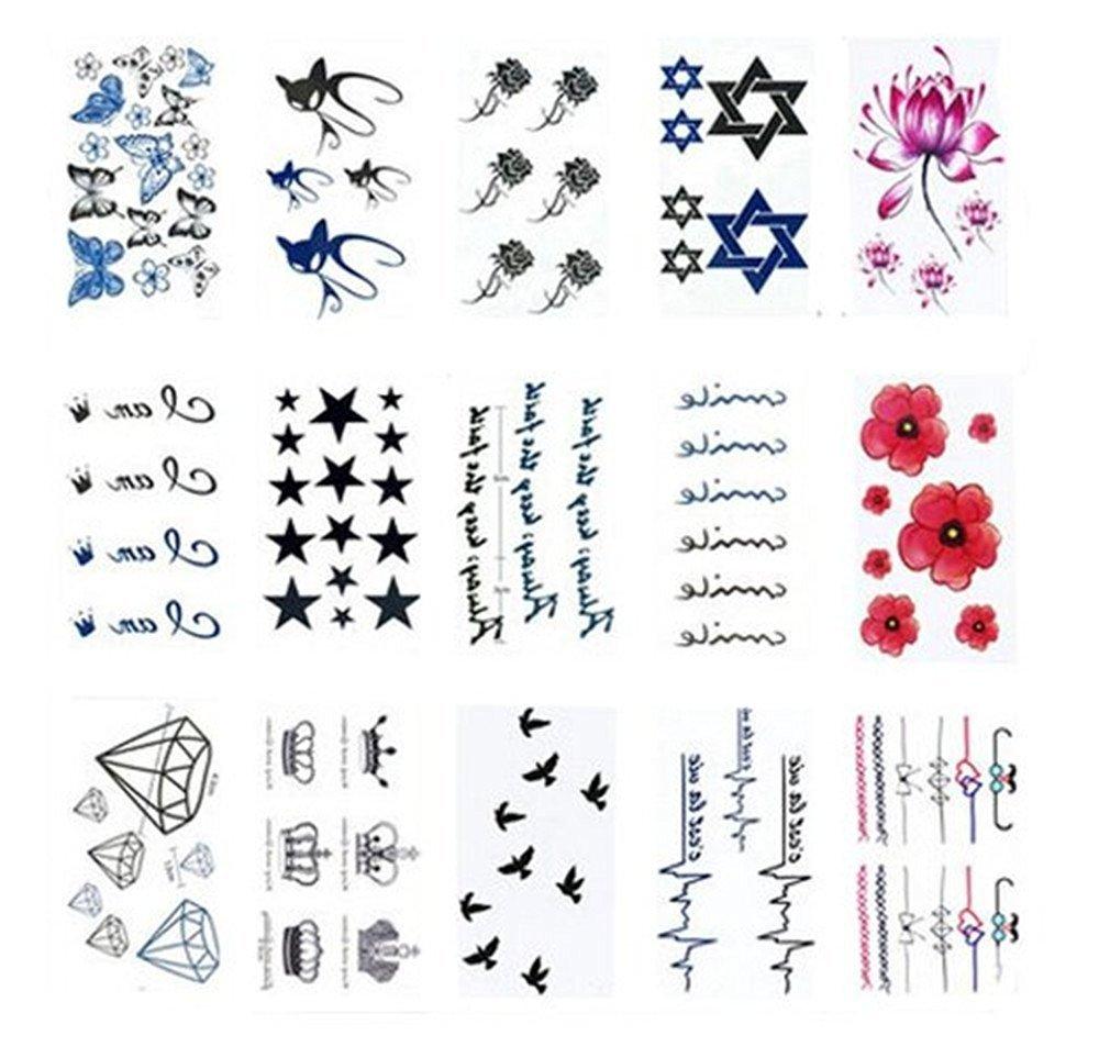 Kangkang@ Set of 15 Cool Gothic Letters DIY Name Body Tattoo Stickers Fake Tattoos Designs