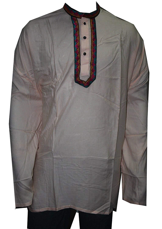 86590c939c0 Get Quotations · Lakkar Haveli Men s Kurta Indian Rayon Loose Fit Shirt  Tunic Kurta Peach Color Plus Size Embroidred