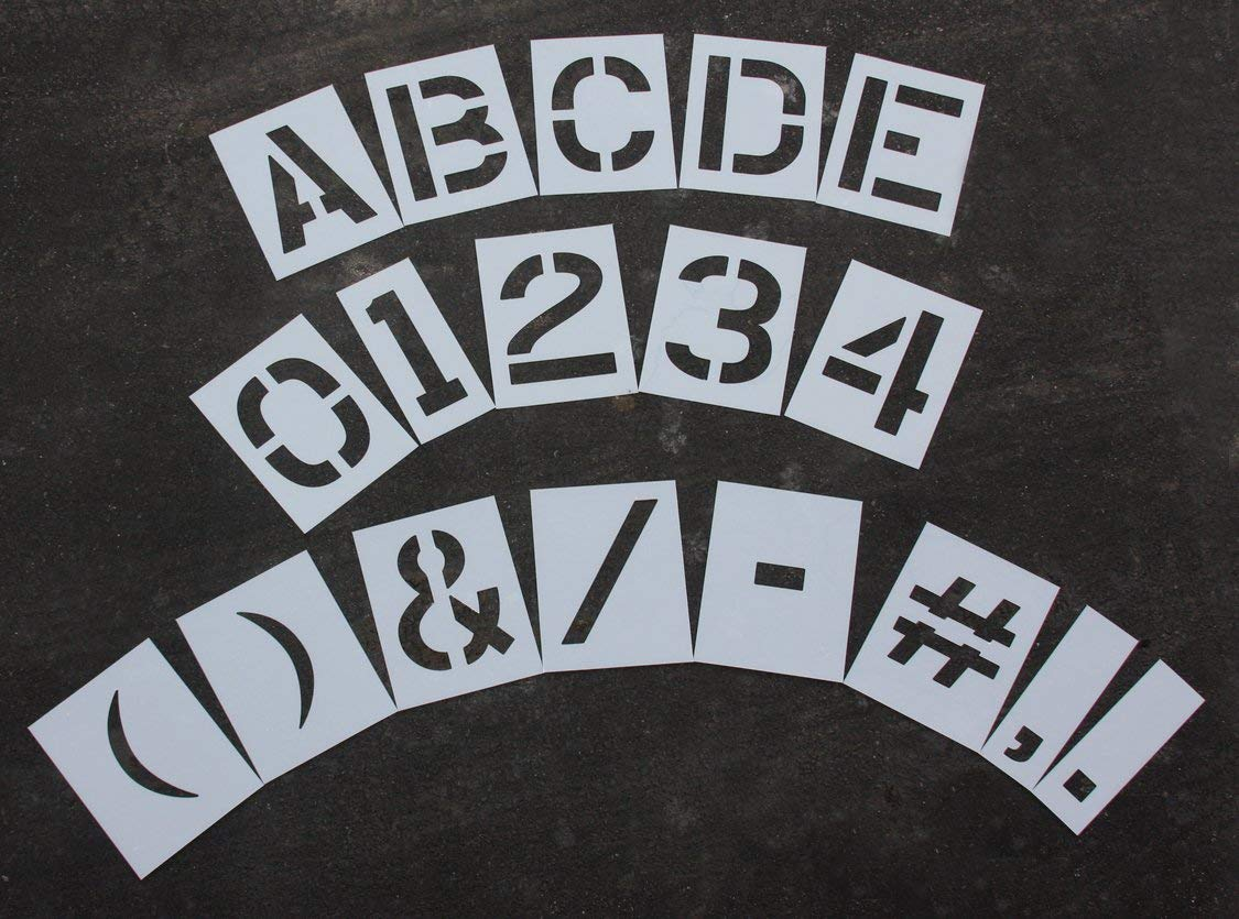 """RAE - 12"""" MEGA KIT Reusable Plastic Paint Stencils, 1/16"""" Thick - LETTERS, NUMBERS, and PUNCTUATION - STL-116-8128"""