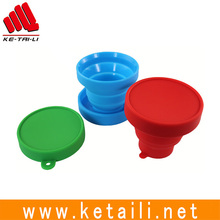 Shenzhen Factory Outdoor Travel Silicone Reusable collapsible folding drinking cup with lid