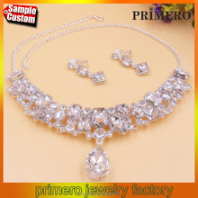 Euro-American wedding dance party white crystal diamond necklace and Stud Earring Set