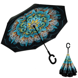 Best Selling OEM Custom Hook C Handle Design Upside Down Double Layer Extra Large Windproof Auto Open Inverted Reverse Umbrella