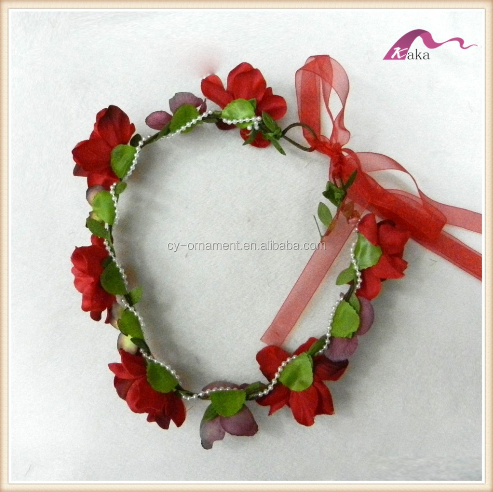 Red Flower garland headband ribbon for women wedding flower crown hairband