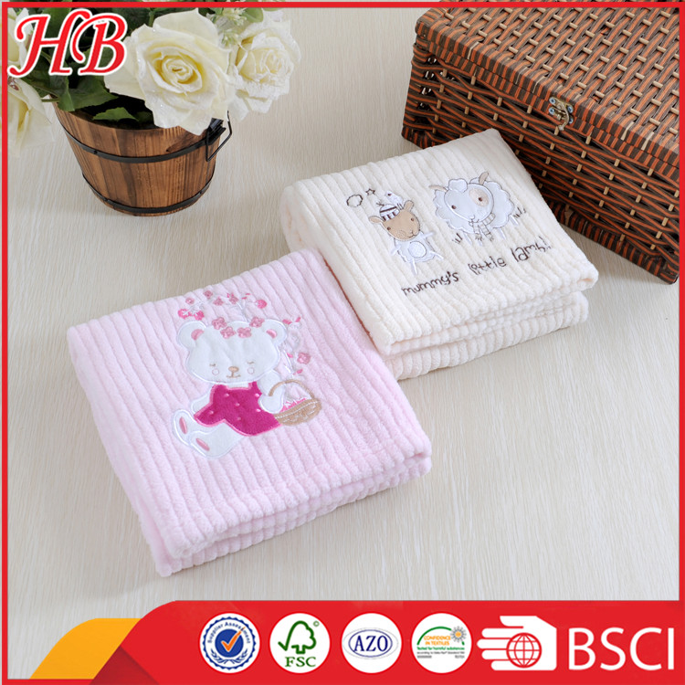 new design embroidered microfiber baby born blanket