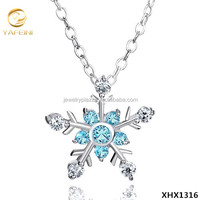 925 Sterling Silver Blue Diamond Accent Winter Snowflake Pendant Necklace Frozen Chain Jewelry