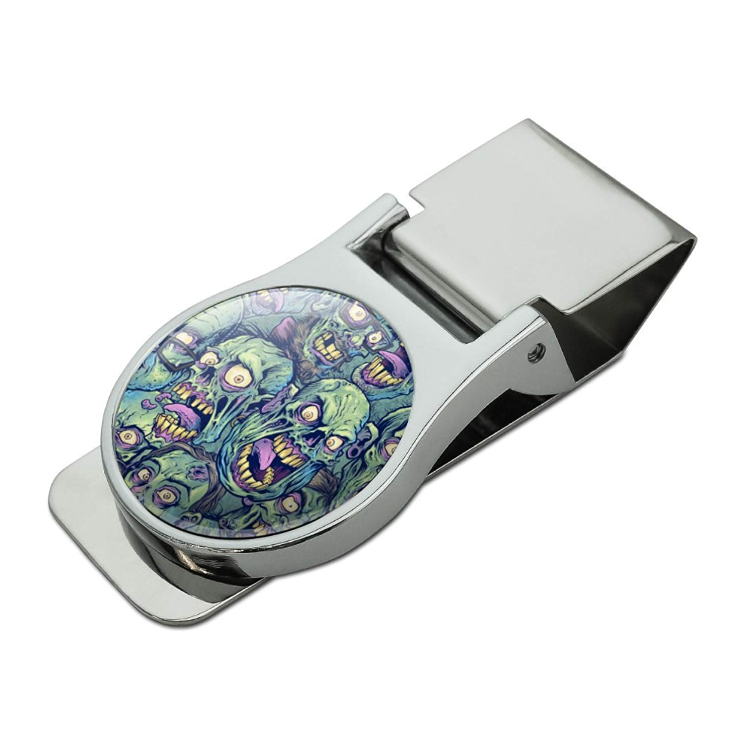 Zombie Pattern Dead Corpses Undead Horror Satin Chrome Plated Metal Money Clip