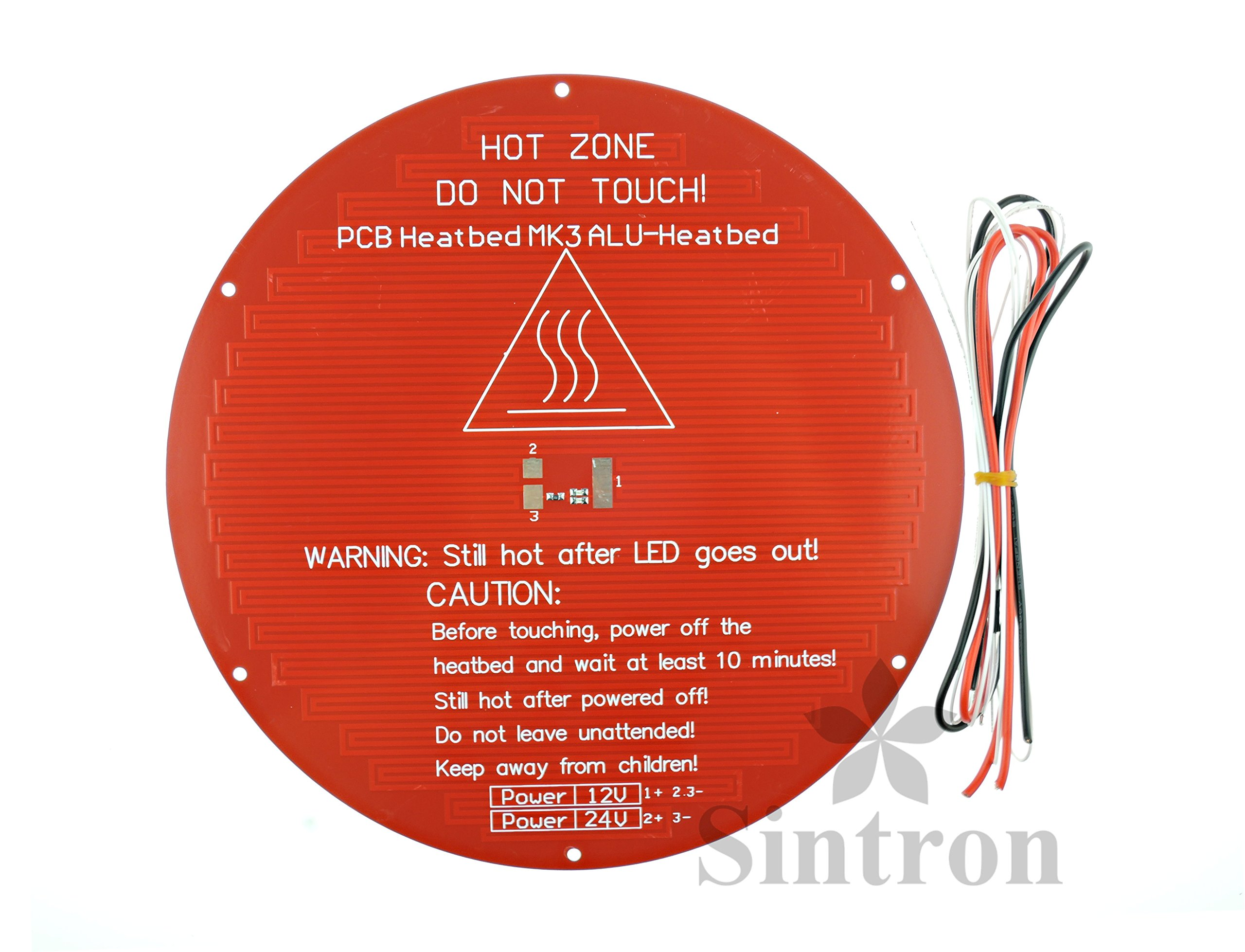 [Sintron] 3D Printer Heatbed Round 3mm Aluminum MK3 Heated Bed for RepRap Rostock Delta Kossel Mini with Thermistor & Wire