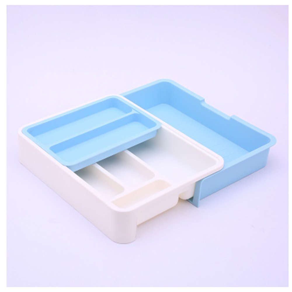 Stock Show Expandable/Stackable/Movable/Adjustable Plastic Cutlery Tray Kitchen Utensil Drawer Organizer Tableware Holder Silverware Store (Blue)