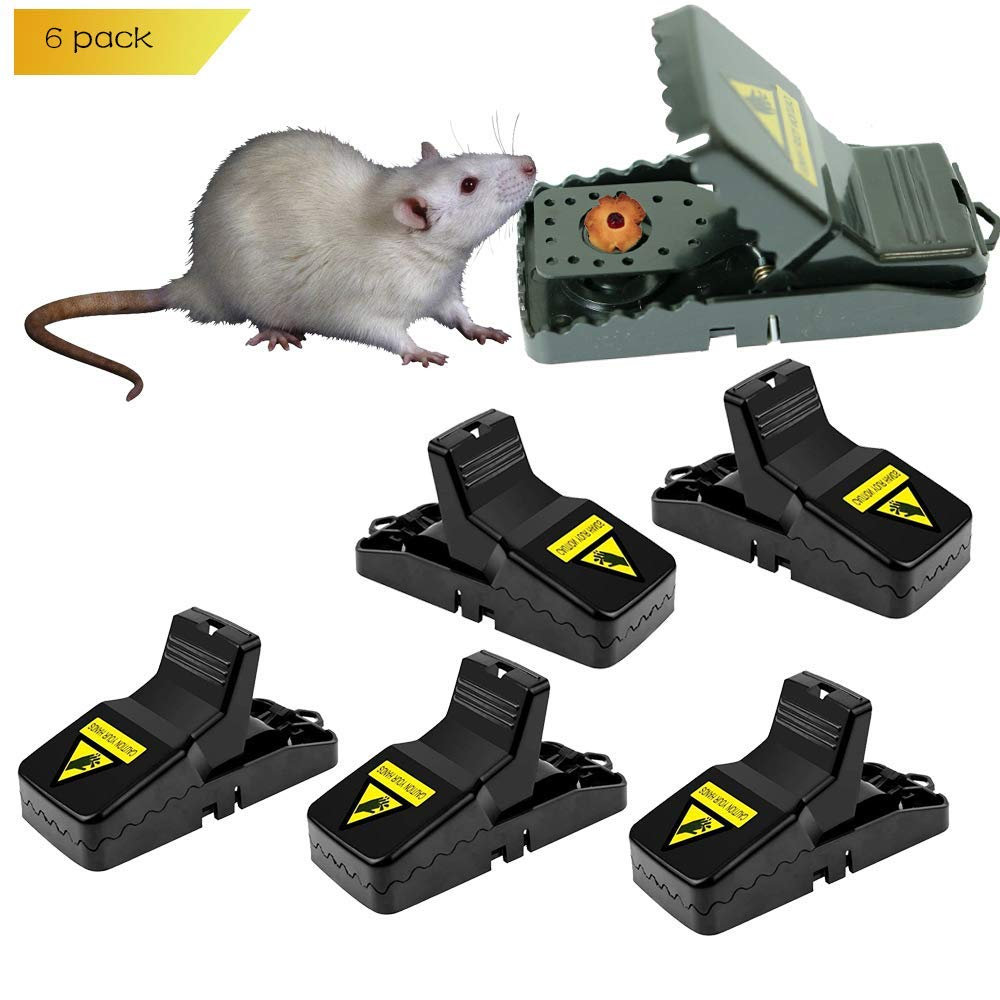 Hirate Mouse Trap Rats/Mice/Rodents Snap Traps That Work Quick Kill - Sensitive and Effective Mice Control/Catcher (Black)