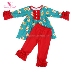 The Gingerbread Man Printed Kids Girls Christmas Outfits