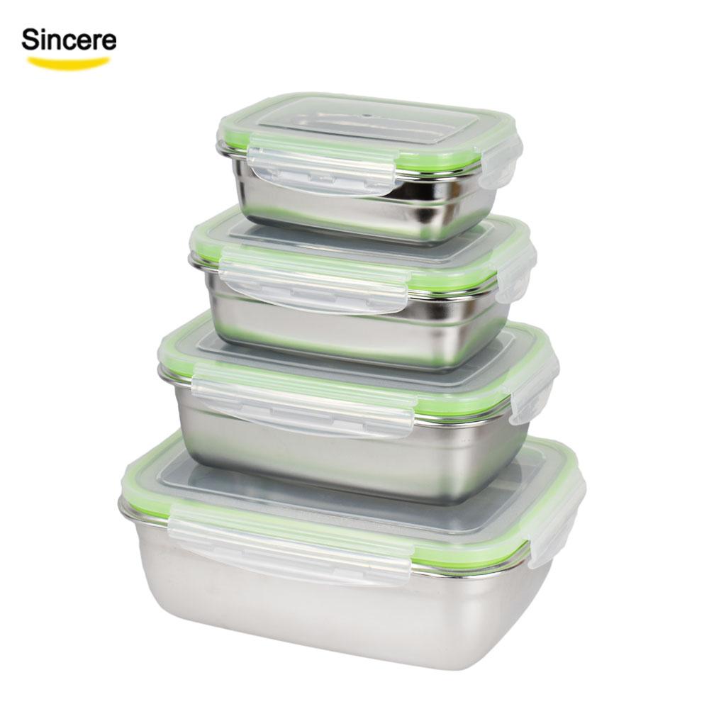 18/8 Stainless Steel Lunch Box Bento Box Set of 4 Piece 350ml/850ml/1800ml/3800ml фото
