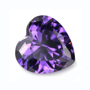 Gemstone Machine Cut Grade AAA Heart Shape Violet CZ Gems
