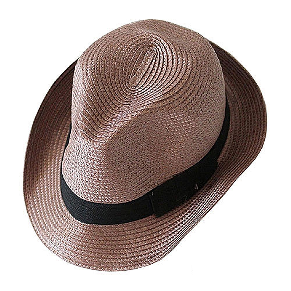 82449cc0 Get Quotations · EDFY Straw Hat - Trilby Style Crushable Summer Sun Mens  Ladies - Coffee