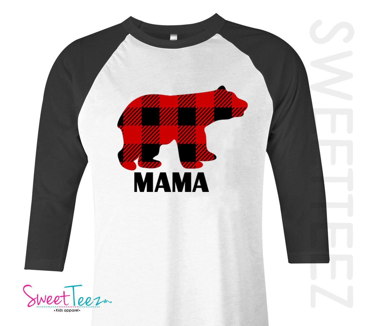 5ce0a7bb Get Quotations · Christmas Shirt for Mama Bear Shirt Red Plaid Shirt Black  Raglan Unisex Adults Mama Bear Daddy