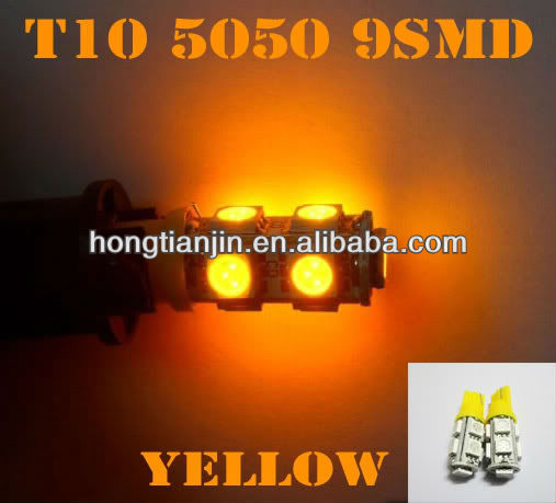 Amber T10 9-SMD Car LED Parking Lights Bulbs