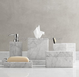 Carrara white marble bath accessories