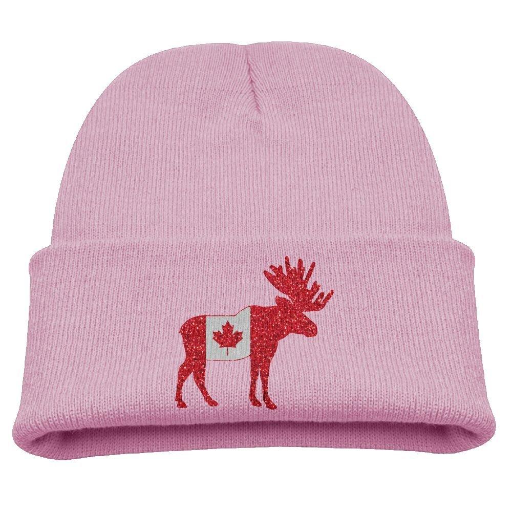 d3ddb066c3b Get Quotations · Glitter Canada Flag Moose Unisex Kids Warm Winter Hat Knit  Beanie Skull Cap Cuff Beanie Hat