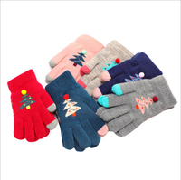 Winter Touch Screen Gloves Kids Knit Mittens Wool Full Finger children thick X-MAS christmas tree gloves