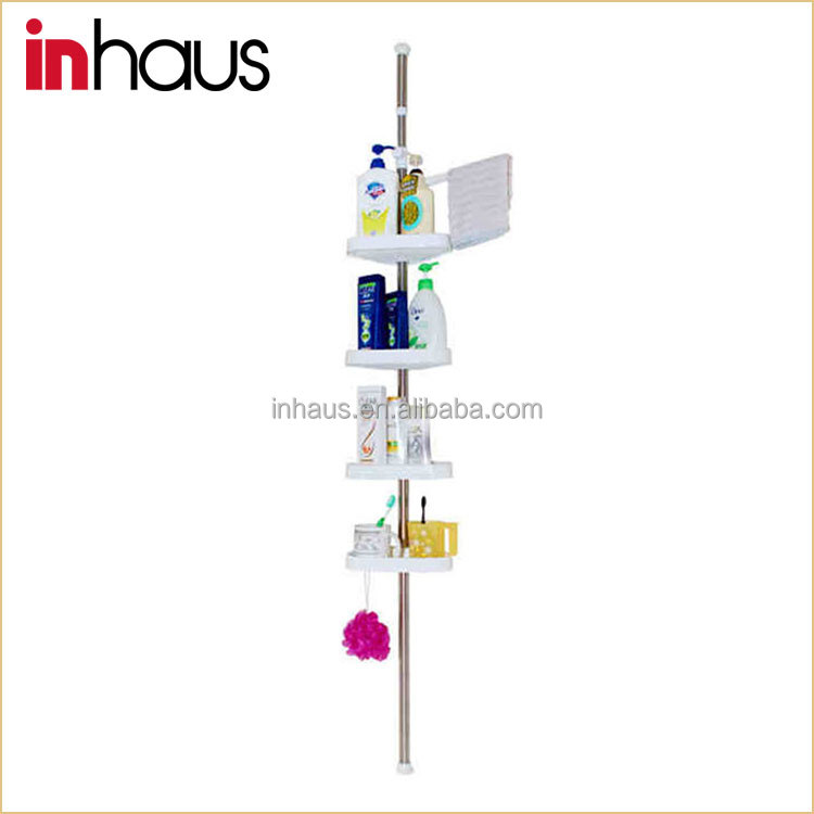 4 tier modern telescopic stainless steel decorative corner shower wall shelf for bathroom