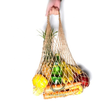 Jute Handmade Organic Eco-friendly Biodegradable Food Grade Foldaway Organizer Fishnet Mesh Net Produce Tote Shopping Tote Bag