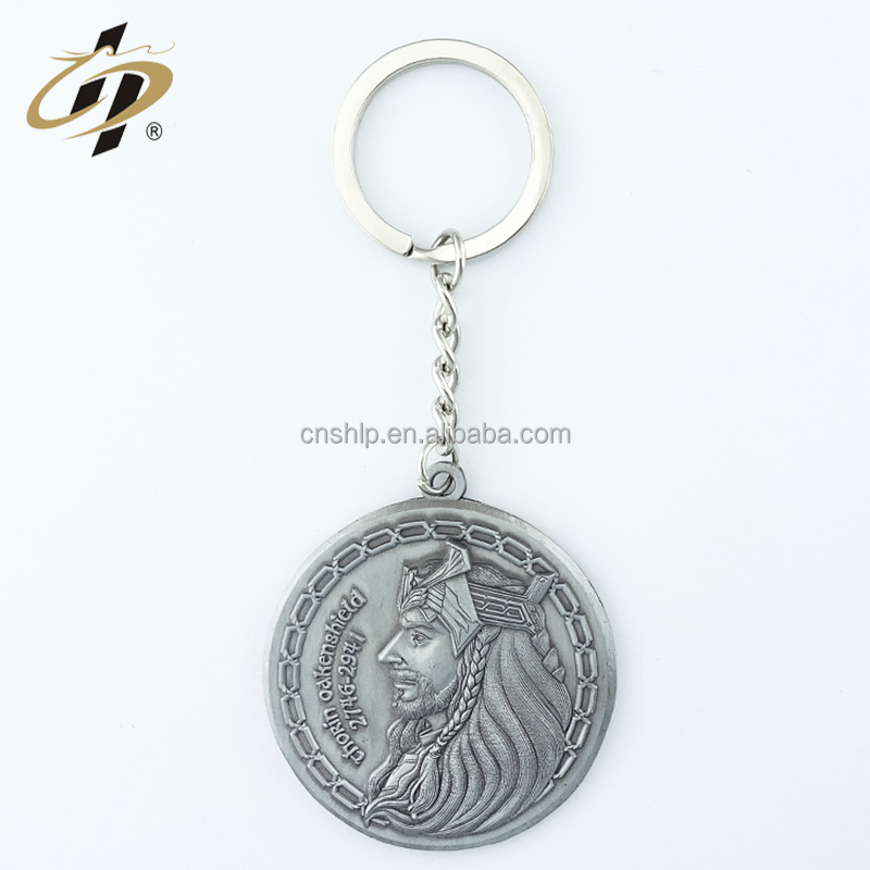Best selling metal products custom casting silver old round shape medals metal keychain