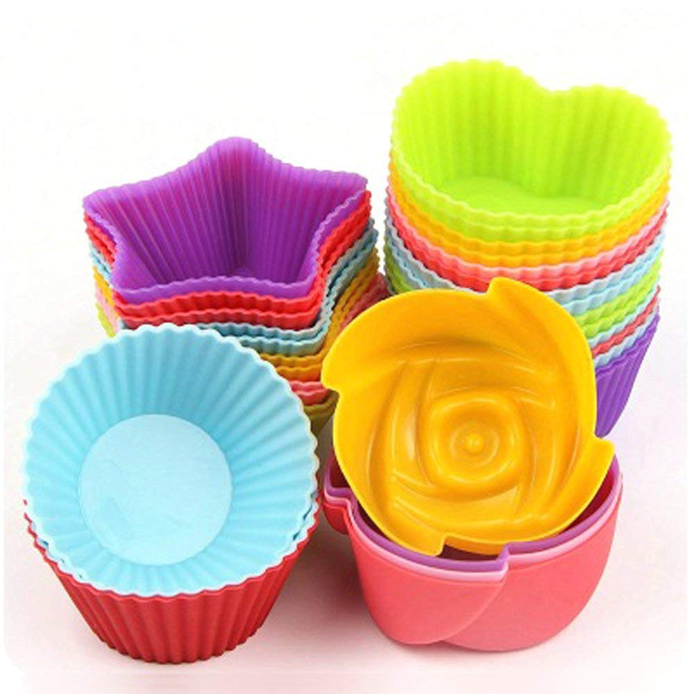GuardGal Kitchen Craft Cake Cup Chocolate Liners Baking Cupcake Cases Muffin Jelly Mold Reusable Silica Gel Moulds (24PCS)