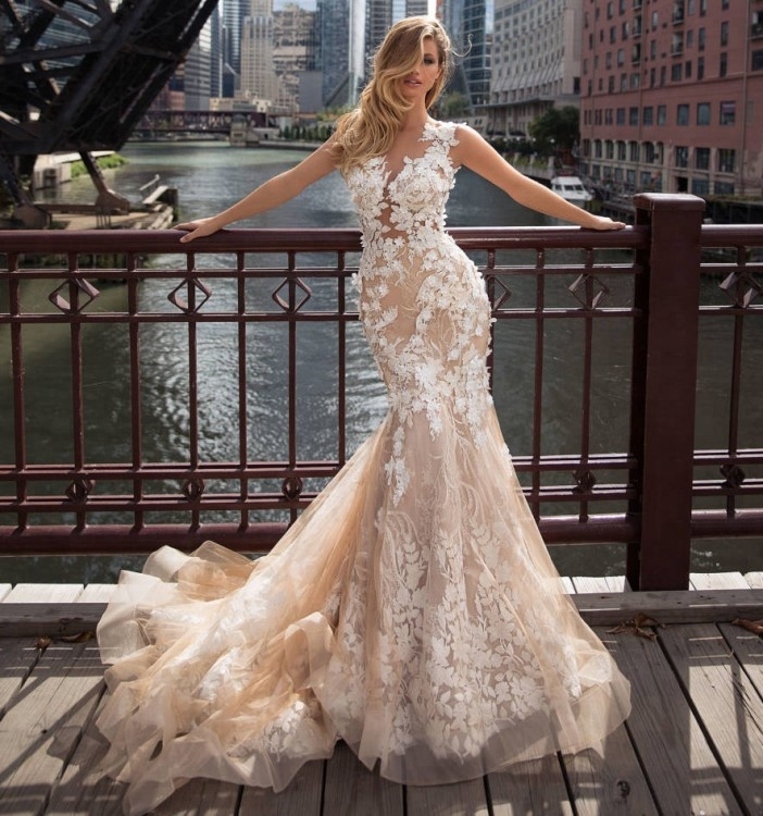 2018 Kristal Desain Wedding Dress Gaun Pengantin Champagne Prom Gaun Mermaid Wedding Dresses