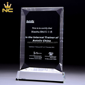 Blank Glass Beveled Back Award Euro Crystal Appreciation Plaque For Engraving Business Gifts