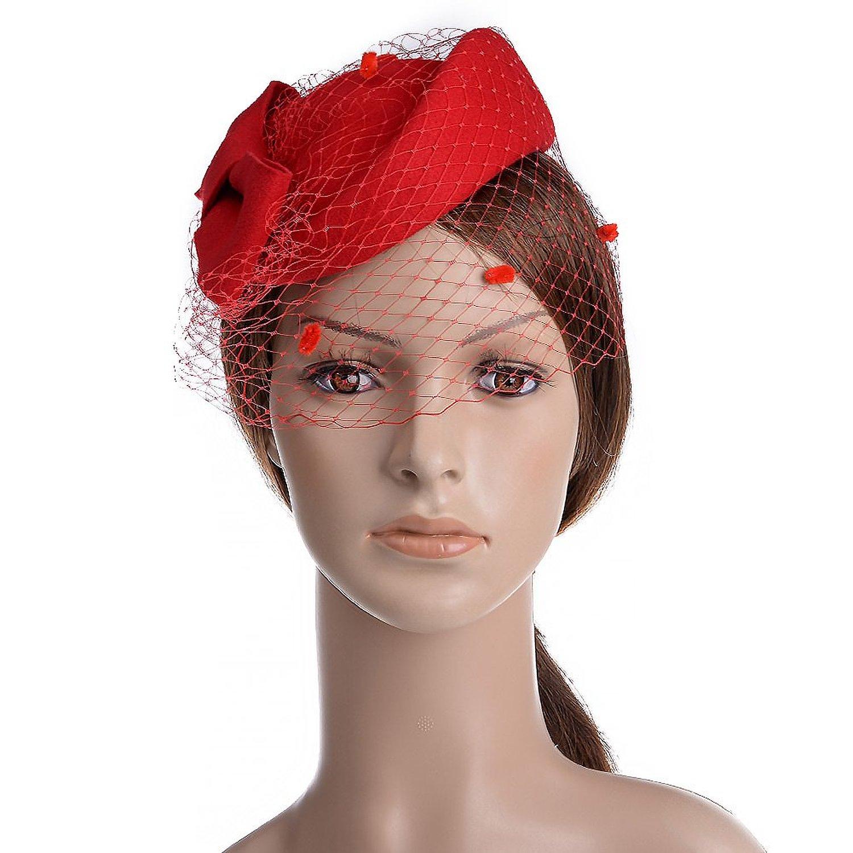 5b76e1a7e334d Get Quotations · VBIGER Women Fascinator Hats Derby Wedding Hats Vintage Hat  Pillbox Hat Woollen Felt Hat Bow Veil