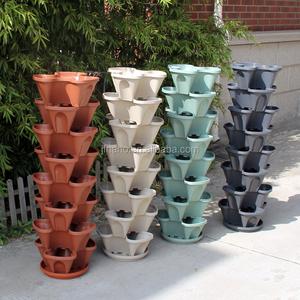 Garden decor cheap colorful stackable plastic flower pots