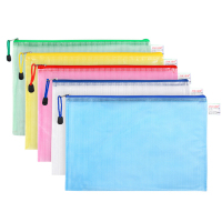 Thickened A4 mesh transparent waterproof stationery bag customized ogo zipper file folder bag