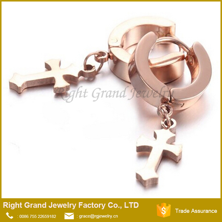 Fashion Surgical Steel Rose Gold Titanium Plated Dangle Cross Huggie Hoop Earrings