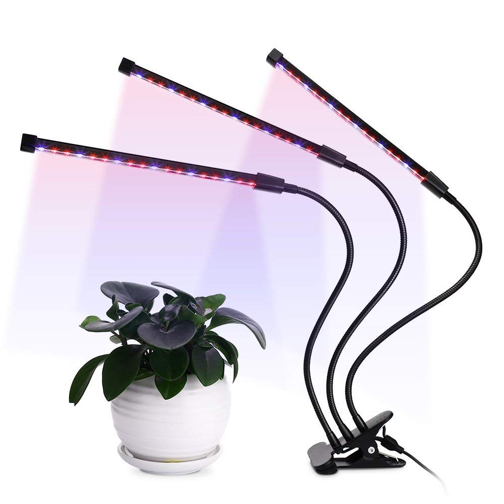 LED Plant Grow Light Triple Head 36W,5 Dimmable Levels, 3/6/12H Timer 64 LED Chips Timing Growing Light with Red/Blue Dimmable Spectrum Bulbs for Indoor and Greenhouse Plants, Adjustable Gooseneck