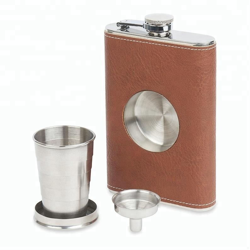Stainless Steel 8oz Hip Flask with a Built-in Collapsible Shot Glass