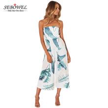 White Leaf Print Strapless Capris One Piece Jumpsuit For Women